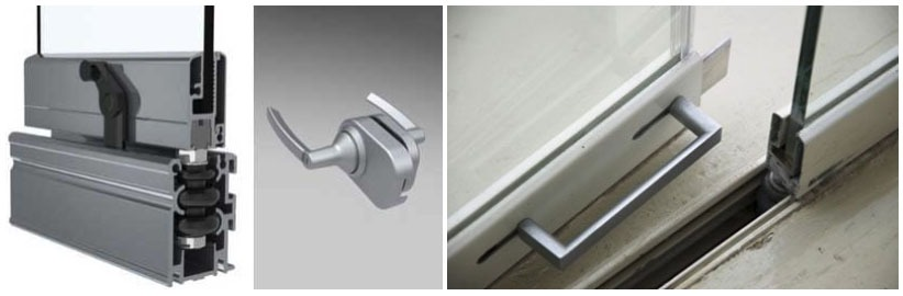 Different angles of the glass door locking mechanism