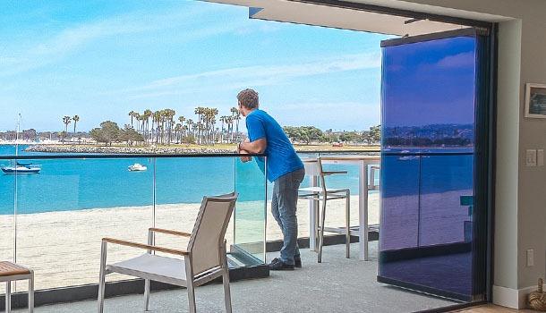 homeowners frameless sliding glass
