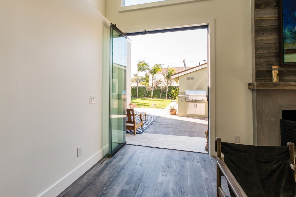 frameless sliding glass doors hallway